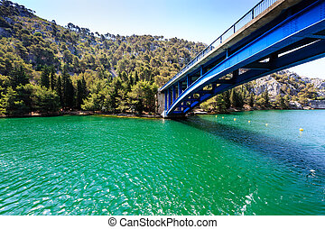 nationalpark, krka, blau, brücke, aus, der, fluß, bei,...