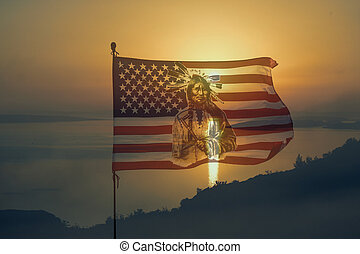 nationaly, bandiera americana, con, indiano, in, tramonto