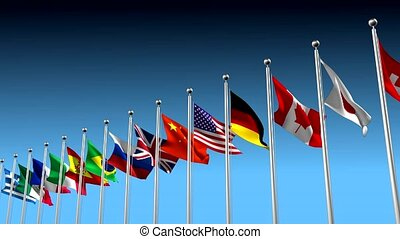 Nations in agreement metaphor - Flags blowing in the wind...