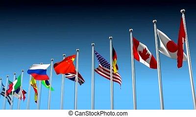 Nations in disagreement metaphor - Flags blowing in...