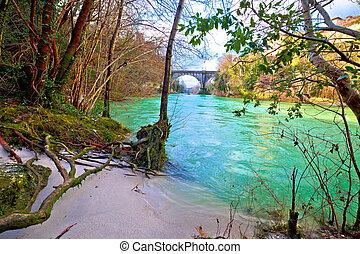 Natisone river sand coast and devil's bridge in Cividale del...
