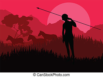 Native African hunter in wild nature landscape background...