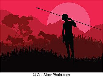 Native African hunter in wild nature landscape background ...