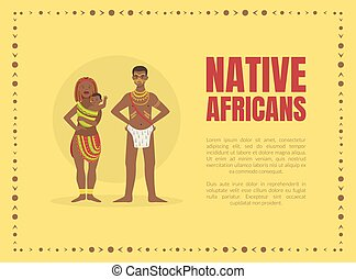 Native Africans Banner Template with Tribal People in ...
