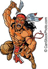 Native American Apache Warrior - Vector cartoon clip art...