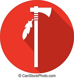 native american axe flat icon