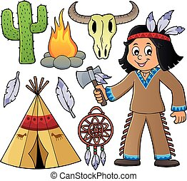 Native American boy and various objects