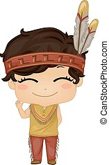 Native American Boy - Illustration Featuring a Boy Wearing a...