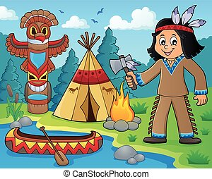 Native American boy theme image 1 - eps10 vector...