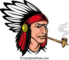 Native american brave in cartoon style for history concept...