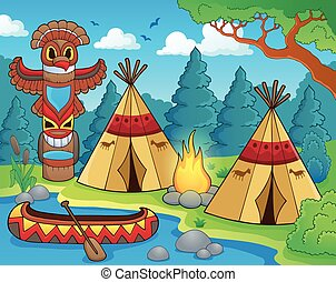 Native American campsite theme image 1
