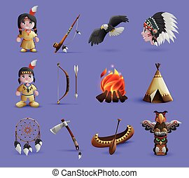 Native american cartoon icons set with figurines in national dress and hunting equipment isolated vector illustration