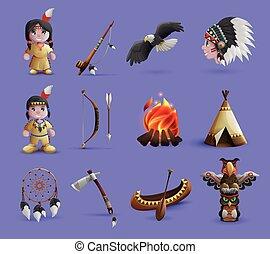 Native American Cartoon Icons