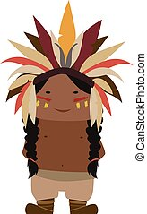 Native American - Cartoon image of a native american indian...