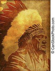 Native American Chief Portrait Vintage Grunge Background....