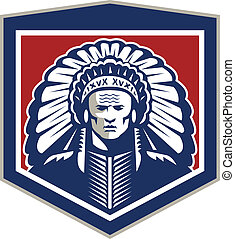 Native American Chief Shield Retro - Illustration of a...