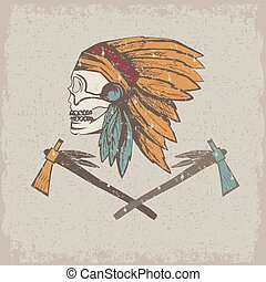 Native American chief skull in tribal headdress with tomahawks