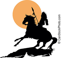 Native American on horseback with lance in silhouette at...