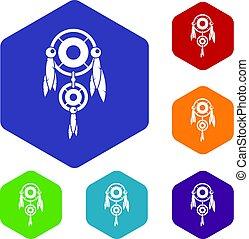 Native american dreamcatcher icons set hexagon