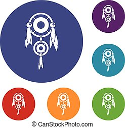 Native american dreamcatcher icons set