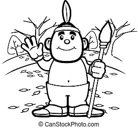 Native American - A happy cartoon Native American waving and...
