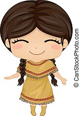 Native American Girl - Illustration Featuring a Girl Wearing...