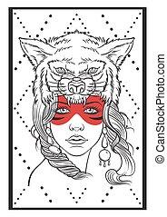 Native american girl. - Native american girl with wolf...