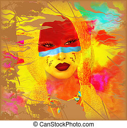 Native American Girl with abstract colorful painted face in or unique 3d render art style.