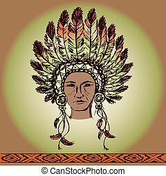 Native American Head, hand drawn, vector illustration