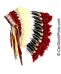 Watercolor Painting of a Native American War Bonnet Headdress