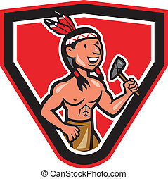 Native American Holding Tomahawk Cartoon - Illustration of a...