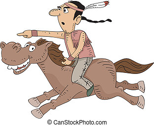 Native American Horseback Riding - Illustration of a Native...