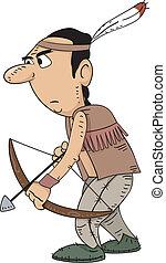 Native American Hunter - Illustration of a Native American...