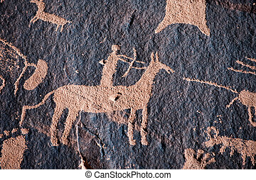 Native american hunter petroglyph