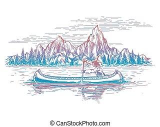Native american in boat landscape