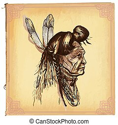 Native American, Indian - An hand drawn vector sketch, freehand
