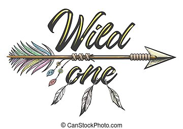 Native American Indian Arrow with Wording Wild One Tattoo Illustration