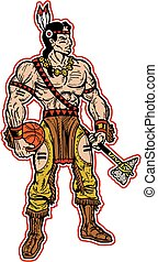 native american indian basketball mascot