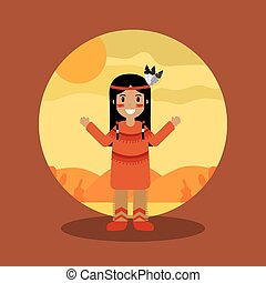 native american indian character female with traditional clothes