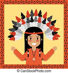 native american indian character portrait
