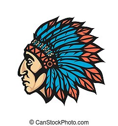 Native American Indian Chief head profile. Mascot sport team logo. Vector illustration