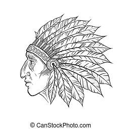 2a6a7ec5fcce5 Native American Indian chief head profile. Vector vintage illustration.  Hand drawn style. Bohemian