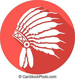 native american indian chief headdress flat icon (indian chief mascot, indian tribal headdress, indian headdress)