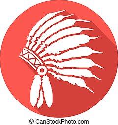 native american indian chief headdress flat icon (indian chief mascot, indian tribal headdress, indian headdress)