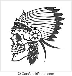 native american indian chief headdress, mascot in tribal...