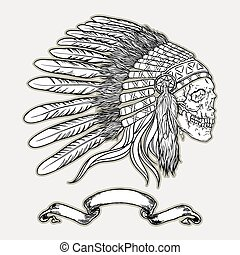 Native american indian chief headdress. Indian skull vector illustration in black and white style