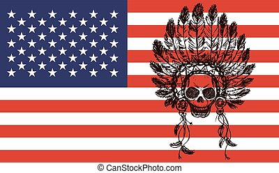 native american indian chief headdress  on usa flag background