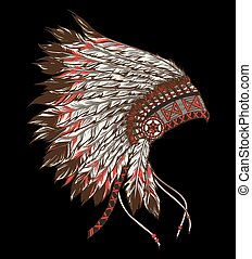 Native american indian chief headdress. Vector illustration on b