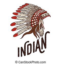 Native american indian chief headdress. Vector illustration....
