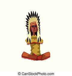 Native American Indian chief in traditional clothing sitting...
